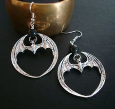 BAT EARRINGS Gothic Travels Vintage Glass by JewelrybyTiKi, $24.99