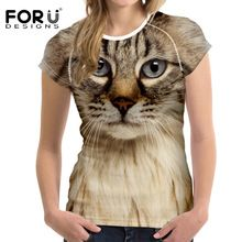 FORUDESIGNS Black Cat Printing Women T Shirt 3D Cat Dog T-Shirt Casual Female Round Neck Short Sleeve Fashion Tops Tee Shirts(China (Mainland))