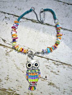 Owl Whimsical gunmetal enamel shell and by McKeeJewelryDesigns