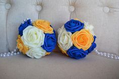 Ivory Navy Blue & Yellow Flower Ball with PEARL by KimeeKouture