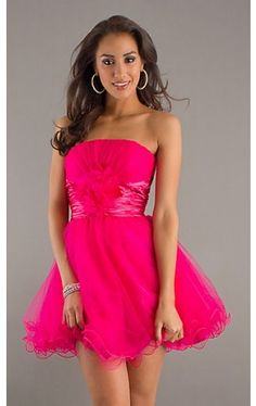 Strapless Short Tulle Homecoming Dress DQ-8012f