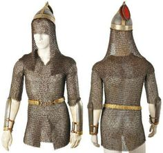 European Nicholas I era armor, from the Caucasian mountains life guards half squadron convoy escort,  formed in1828 by the order of Nicholas I, to serve as the Russian Imperial Court's escort, formed from the voluntarily conscripted local high nobility shortly after Russia's conquest of the Northern Caucasus, consisting of a riveted mail kolchuga (mail shirt)  naruchi (arm guards), misiurka (helmet) with riveted mail camail. T2.