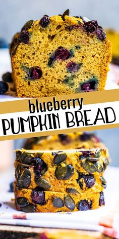 This easy blueberry pumpkin bread is a fun twist on traditional pumpkin bread. Sweet blueberries add a burst of flavor along with a lovely purple color. This healthy pumpkin bread makes a fun fall treat that goes beyond the ordinary. Healthy Pumpkin Bread, Savory Pumpkin Recipes, Easy Bread Recipes, Best Dessert Recipes, Fun Desserts, Fall Recipes, Baking Recipes, Sweet Recipes, Delicious Desserts