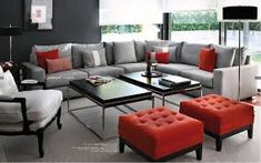 Resultado de imagem para black white gray and red decor