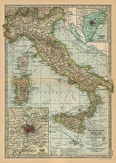Vintage Italy Map Poster with Detailed Inset of Rome & Venice | eBay