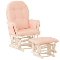 Nursery-Glider-Chair-Baby-Rocker-Furniture-Ottoman-Set-Pink-White-Wood-Infant