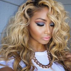 "Affordable luxury 100% virgin hair starting at $65/bundle in the USA. Achieve this look with our luxury line of Peruvian Body Wave Blonde #613 hair extensions, available in lengths 12"" - 28"". www.vipextensionbar.com email info@vipextensionbar.com"