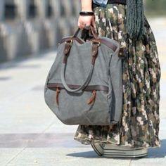 47 FULVIA'™  vintage Canvas leather shoulder bag