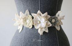 Rustic Vintage Cotton Linen Rosette Flower Wedding Sash by LAmei
