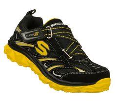 SKECHERS Boys Mighty Flex Z-strap Shoes - Black/Yellow - 10.5L
