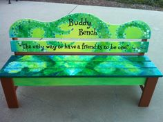Build a Buddy Bench for a local playground- if students feel lonely on the playg. Build a Buddy Bench for a local playground- if students feel lonely on the playg. Preschool Playground, Playground Ideas, Children Playground, Playground Design, Modern Playground, Backyard Playground, Backyard Ideas, Girl Scout Silver Award, Buddy Bench