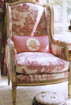 This French Wing Chair has toile upholstery & giltwood.It is just gorgeous.