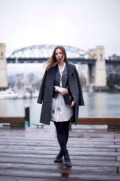 H&M Coat, Obakki Silk Shirtdress, Walter Baker Leather Jacket, 3.1 Phillip Lim Bag, Zara Booties