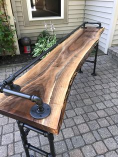 Live Edge Black Walnut Sofa Bar Table Thanks for looking at this creation! CaseConcept live edge wood is reclaimed from power companies, local Michigan municipalities and wind fallen trees. Never harvested just for lumbar. This live edge w Sofa Bar, Sofa Sofa, Bar Table Behind Couch, Bar Bench, Couch Table, Sofa Tables, Dining Tables, Restaurant Counter, Retail Counter