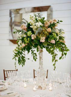 Elegant floral centerpiece: http://www.stylemepretty.com/2015/02/03/rustic-charm-pippin-hill-wedding/ | Photography: Josh Gruetzmacher - http://joshgruetzmacher.com/