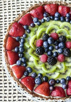 Fruit tart with vanilla pastry cream. how many likes for it ? #fruits #fruitsalad #food #foodphotography #strawberries #blueberry #grapes #kiwi