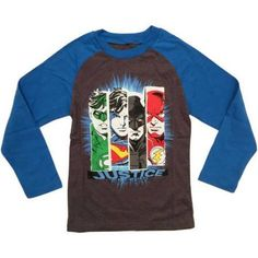 DC Comics Justice League Boys Character Fashion Long Sleeve Raglan Graphic Tee, Size: 5/6, Black