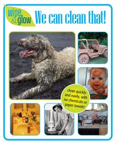 Wipe and Glow Cleaning Cloths clean any surface using just water. They are washable for years and will clean Windows, Stainless Steel, Granite and just about every surface in your home, car or office. Best of all, they are lint and STREAK-FREE www.wipeandglow.com