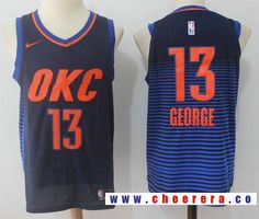 a319065c234 Men s Oklahoma City Thunder  13 Paul George Navy Blue Pinstirpe 2017-2018  Nike Swingman Stitched NBA Jersey