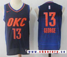 35a0f55e8cf6 Men s Oklahoma City Thunder  13 Paul George Navy Blue Pinstirpe 2017-2018  Nike Swingman Stitched NBA Jersey