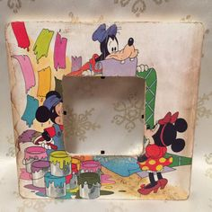 Tattered Mickey Minnie and Goofy Picture by FeedleBeesCreations  Love the aged look of this old school Mickey, Minnie, and Goofy picture frame! Great for a Disney themed birthday party, nursery, or to hold those Disney memories!