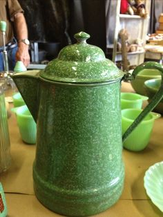 Green vintage coffee pot
