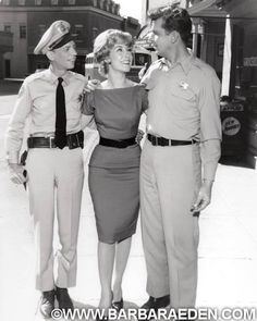 Here's an extremely rare shot of Don Knotts, Barbara and Andy Griffith during production of the manicurist episode of The Andy Griffith Show. -Team Eden