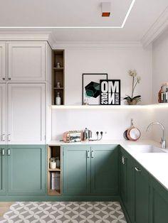 70 Marvelous Tiny House Kitchen Design Ideas - Page 54 of 74 Kitchen Room Design, Home Room Design, Kitchen Interior, Kitchen Decor, Green Kitchen, Kitchen Sets, New Kitchen, Two Tone Kitchen, Cheap Office Decor