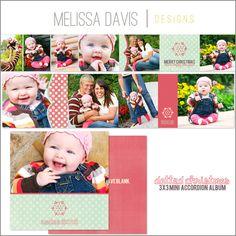 NEW 2012 Dotted Christmas mini accordion album template set from Melissa Davis Designs!