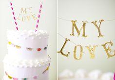 diy banner my love wedding cake