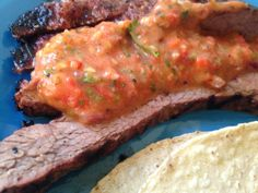 Grapefruit & Pepper Flank Steak w/ Roasted Tomato Salsa
