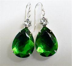 Emerald Green Rhinetone Teardrop earrings. by JewelryOnVintageLane, $24.00