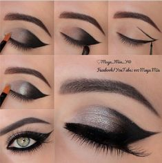 Line with a black Eyeliner to your eyelid in a curved line! - Line with a black Eyeliner to your eyelid in a curved line! Eye Makeup Steps, Cat Eye Makeup, Natural Eye Makeup, Makeup Eyeshadow, Natural Beauty, Makeup Brushes, Eyebrow Makeup, Smokey Eyeshadow, Makeup Remover