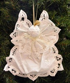 How to Make Victorian-Style Lace Christmas Ornaments Victorian Christmas Ornaments, Shabby Chic Christmas, Diy Christmas Ornaments, Christmas Angels, Christmas Art, Handmade Christmas, Christmas Ideas, Vintage Christmas, Natural Christmas