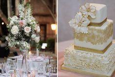 Sedona Cake Couture gold wedding cake lace