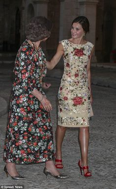 Queen Letizia and Queen Sophia were seen smiling together as they greeted guests last nigh...