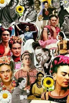 Haz un collage similar a este usando diferentes imagenes de Frida Khalo luego lo presentas oralmente a la clase.