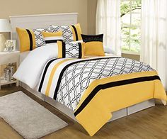 Yellow And Gray Comforter, Yellow Bedding Sets, Yellow Gray Bedroom, Black White Bedrooms, Black Comforter, Comforter Sets, Designer Bed Sheets, Luxury Bed Sheets, Luxury Bedding