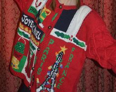 Womens Vintage Joyeaux Noel Christmas Cardigan Sweater - The Eagles Eye - Size Medium