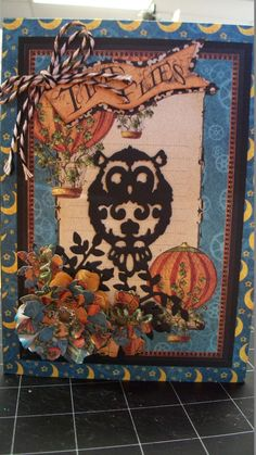 This is my card made with Graphic 45 Steampunk Spells.  The owl die is cut with Joy Crafts Vintage Flourishes.