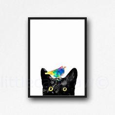 Peeking Black Cat with Golden Eyes Colorful Bird Edition Cat