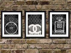 3 Chanel Vintage Prefume - original-Illustration-Kunst Drucken - A4-Größe - schwarz / weiß Poster - schwarzer Hintergrund