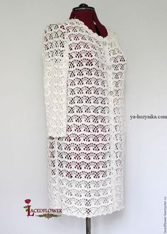 White Summer Crochet Coat cardigan Lace Cotton Viscose – shop online on Livemaster with shipping Summer cardigan lace coat. This model is crocheted of textured yarn (cotton with viscose). Crochet Coat, Crochet Jacket, Crochet Scarves, Crochet Clothes, Crochet Cardigan Pattern, Crochet Blouse, Crochet Shawl, Crochet Patterns, Crocheted Lace