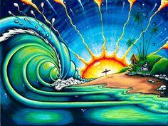 Beach, sunset, surfing, waves art