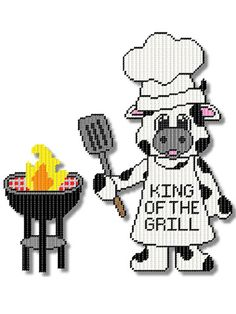 Plastic Canvas - Holiday & Seasonal Patterns - Summer Patterns - Grilling Cow