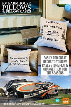 RV Farmhouse Decor! One pillow and several pillow cases give you the opportunity to decorate your RV with the seasons! This farmhouse style case is two sided: Build a Life You Don't Need A Vacation From & Life Was Meant for Good Friends, available in 3 standard sizes. More designs available! #rvdecor #rvpillows #travelpillows #inspirationaldecor #camperdecor #glampingdecor #coachdecor #glampingpillows #glamping #rvinng #rvlife #rvdesign #RVfarmhouse #rvfarmhousedecor #etsy #shopsmall #affiliate