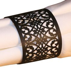 50 BLACK FILIGREE Laser Lace Paper Napkin Rings Holders for Wedding & Party. $24.00, via Etsy.