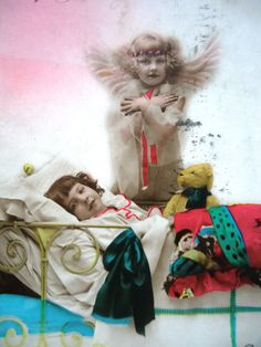 Vintage bear postcard - Art deco little girl, bed decorated blanket , teddy…