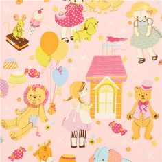 pink plush toy doll fabric Alexander Henry USA