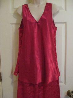 Oscar de la Renta Pink Label Red Pajama Set sz. M See-Through Pants Sexy Flowers #OscardelaRenta #PajamaSets